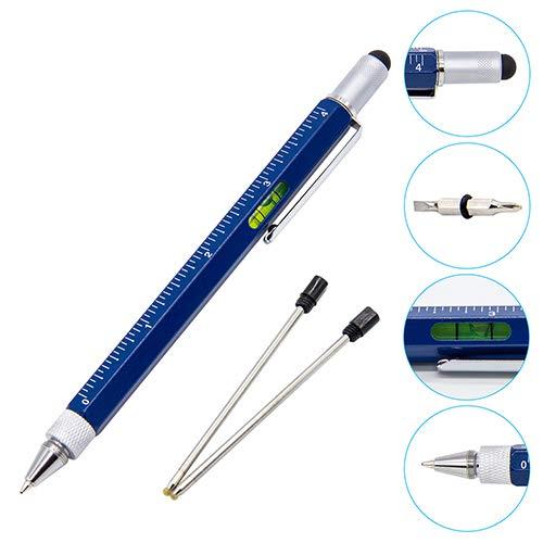 6-in-1-Werkzeug-Stift, mit Kugelschreiber/Touch-Bildschirm-Stift und Kreuzschlitz- und Flachschraubendreher, Lineal, Wasserwaage, Multifunktionswerkzeug, tolles Geschenk für Herren blau