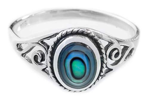 WINDALF Zarter Ring LUCY h: 0.9. cm Seeopal mit Lebens Spiralen Hochwertiges Silber (Silber, 58 (18.5))