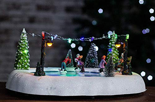 Homezone Animated Christmas Carol Village Nativity Scene Christmas Ornament Decoration With Colour Changing Led Fairy Lights And Sounds Battery