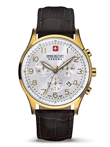 Swiss Military Hanowa Patriot 06-4187.02.001 - Reloj de pulsera para hombre (correa de piel, cronógrafo, cristal de zafiro, 10 bares, fecha de cada)