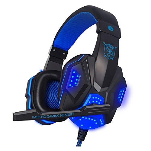Balock Schuhe Balock Schuhe Led-Gaming-Headset,Surround-Stereo-Gaming-Headset,Stirnband Kopfhörer USB 3,5 mm LED mit Mikrofon für PC