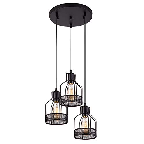 Weesalife Pendant Light with Rustic Black Metal Cage Shade Industrial Retro Matte Black Adjustable 3-Lights Hanging Lighting Pendant Lamp Fixture for Kitchen Island, Barn, Dining Room, Cafe, Farmhouse