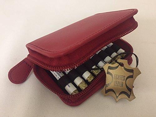 Kleine Taschenapotheke,rot,-PORTOFREI-,16 Mittel á 1,2g Globuli in UV-Schutzglas-Röhrchen in einem hochwertigen Leder Etui mit Strahlen-Abschirmung.