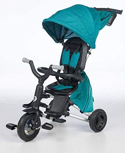 QPLAY - Triciclo Bebe Nova+ Verde - Evolutivo - Plegable - Arnés de Seguridad - Capota con protección UV - Ideal para niños de 10 a 36 Meses (máximo 25 Kg)