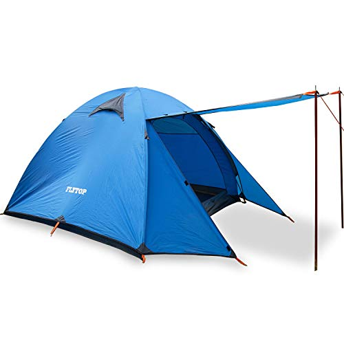 Lightweight 3 Man 3 Season Orange Tent, Ideal for Backpacking Camping Waterproof Tent, Easy and Fast to Set Up (Blue)