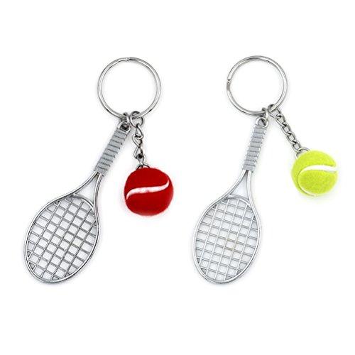 uoeo Tennis Ball, Tennisschläger Schlüsselanhänger Sport Liebhaber Schlüsselanhänger, Set von 2