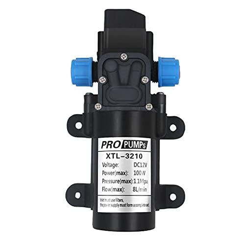 12 V DC Membraan Zelfaanzuigende Waterpomp, 100 W 8L/Min 160 Psi Hoge Druk Zelfaanzuigende Waterpomp Intelligente Klep (met Drukschakelaar) voor Auto Wasmachine Zonne-energie Water
