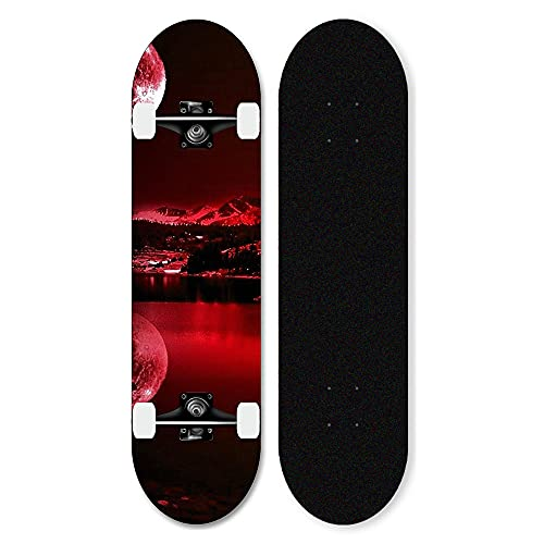 7-Layer Maple Complete Skateboard, Double Kicks Skateboard, Pro Beginners 31inch Skateboard, With Abec-11ball Bearings, for Teens Adults Girls Boys-Star A_31 inches