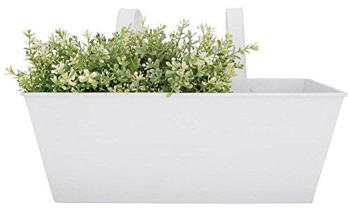 Esschert Design - Balconnière/Jardinière avec Crochets - Zinc - 7,5 L - env. 40 x 25 x 27 cm - Blanc