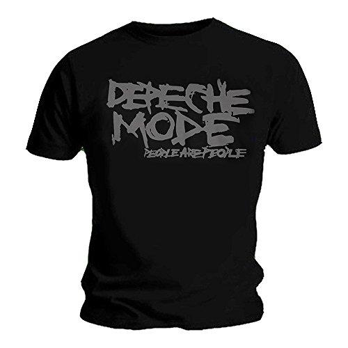 Camiseta Oficial de Depeche Mode Album Logo 'People Are People Negro Negro (M