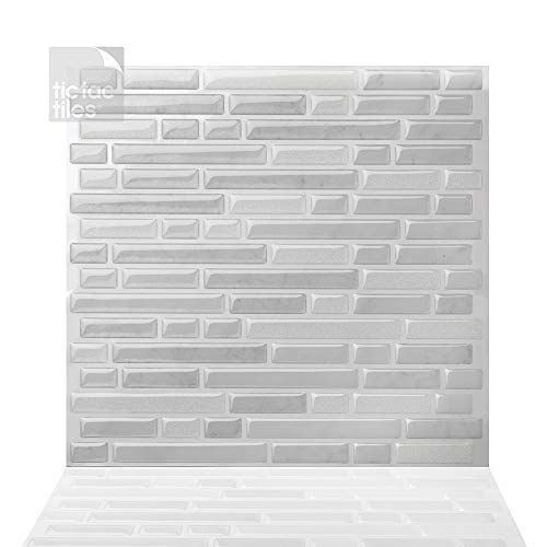 Tic Tac Azulejos 25cm x 25cm, 10 Láminas 3D Azulejos Adhesivo Azulejos de Mosaico la pared para Cocina y Baño - Como Blanco