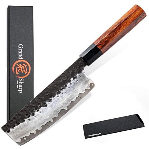 6.7 pulgadas Nakiri Cuchillo Mano forjado Cuchillos de cocina AUS10 japonés AUS10 Handle de madera natural de acero de 3 capas con caja de regalo Juego de cuchillos de cocina Conjuntos de bloques de c