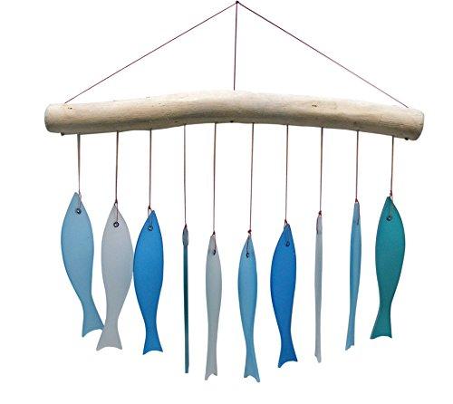 Asiastyle Glaswindspiel Lissabon, Fische, meeresfarben, ca. 26 cm Höhe