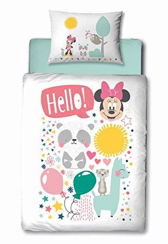 Baby-Bettwäsche 2 teiliges Set Disney Minnie Mouse with Friends Lama Panda Erdmännchen | 100x135cm 40x60cm | Klein-Kinder Bettwaesche-Set in Weiss türkis
