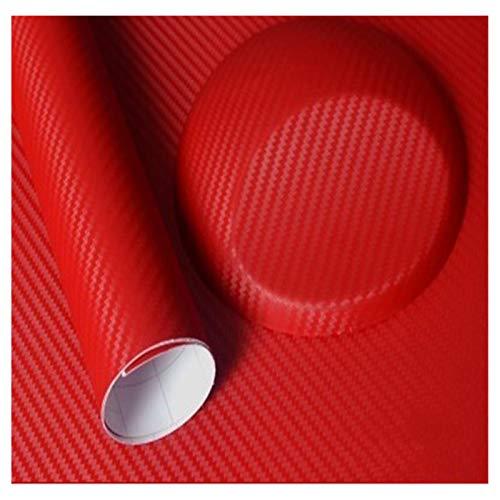 500mmx2000mm 3D-Carbon-Faser-Vinylfilm-Auto-Aufkleber wasserdicht Auto-Styling-Verpackungs-Auto Fahrzeug-Pflege-Zubehör Motorrad Lackschutzfolie (Color Name : 3D red, Size : 50cmx200cm)