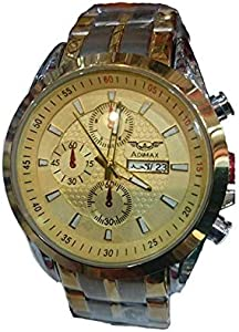 Analog Watch for Men by ADIMAX, Round, Gold
