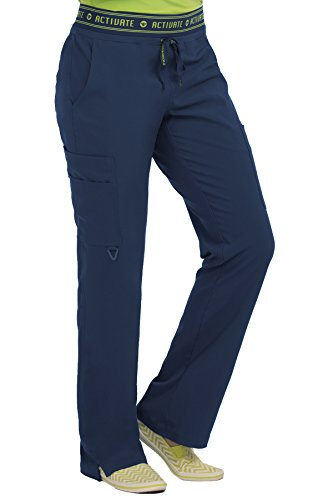 Med Couture Activate Scrub Pants Women, Flow Yoga 2 Cargo Pocket Pant, Navy, Large