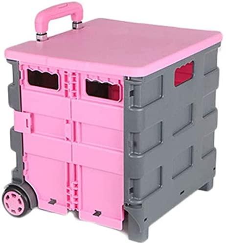 GTJF Für Einkaufswagen Neuer Faltbarer Kunststoff-Einkaufswagen-Leichtbau-Karton-Wartel-Roll-Klappaufbewahrungsbox mit Aluminiumgriff (Color : Pink)