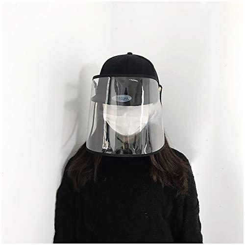 FHUILI Epidemie Schutz Hut - Einstellbare Größe Baseball-Mütze mit Transparent Face Shield - Zuger Wasser-Tröpfchen, Staub, Pollen für Außen Anlass (Herausnehmbare)