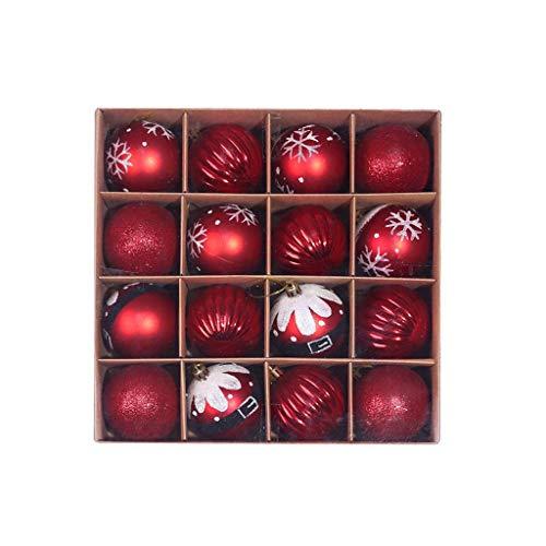ZWXIN Weihnachtskugeln Ornamente,Weihnachtsbaum Bälle Dekorationen für Weihnachten Hochzeitsfest Dekoration Weihnachtskugel-Set Christbaumkugeln Baumschmuck(16PC,6CM)