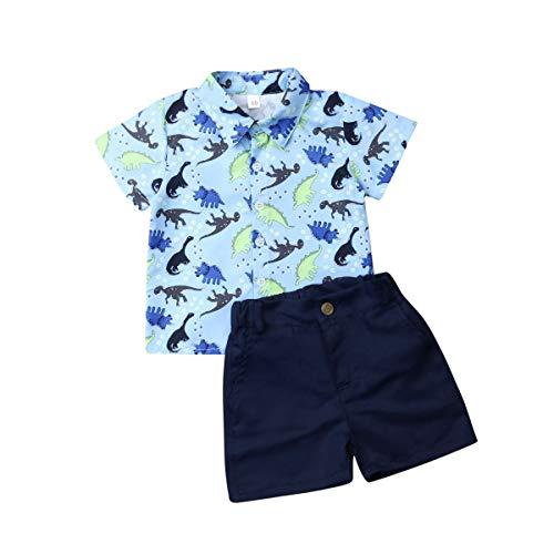 Geagodelia Set aus Dinosauriern, 2 Stück, Komplettset für Neugeborene, Kinder, kurzärmliges Hemd + Shorts für den Sommer, Blau 90 cm