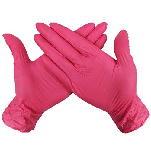 OttOen ZPST11 Desechables y reciclables Guantes - Polvo y Látex Libre, Libre de la alergia - Trabajo, preparación de Alimentos, Tatuaje, Limpieza, Rojo (Caja de 100PCS) (Size : XL)