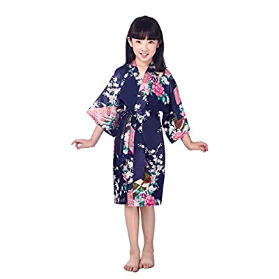 Awind Girls' Bird & Flower Satin Kimono Wrap Sleepwear Robe Bathrobe Short