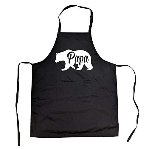 Delantal Cookout con diseño de oso papá para cocinar el día del padre (negro) – negro, talla única