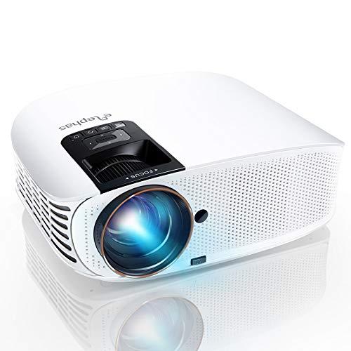 Mini Beamer, ELEPHAS 8000 Lumen Heimkino Video Beamer 1080P Full HD, 230' LCD Projector kompatibel mit TV Stick, HDMI, SD, AV, VGA, USB, PS4, Smartphone,Weiß [YG600 Upgrade Version]