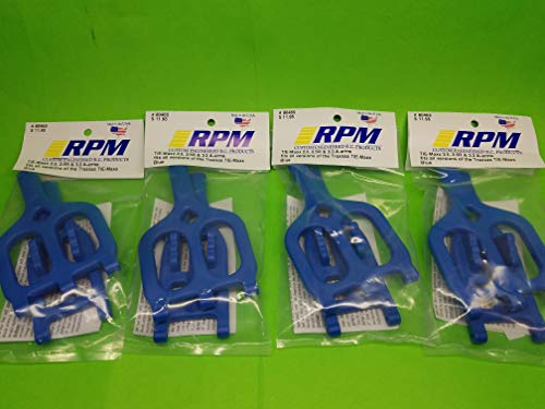 rpmproducts 4 Pack Full Set RPM 80465 Front Rear Blue Suspension Arms Traxxas 2.5 3.3 T-maxx Emaxx tmaxx a arms Control arms