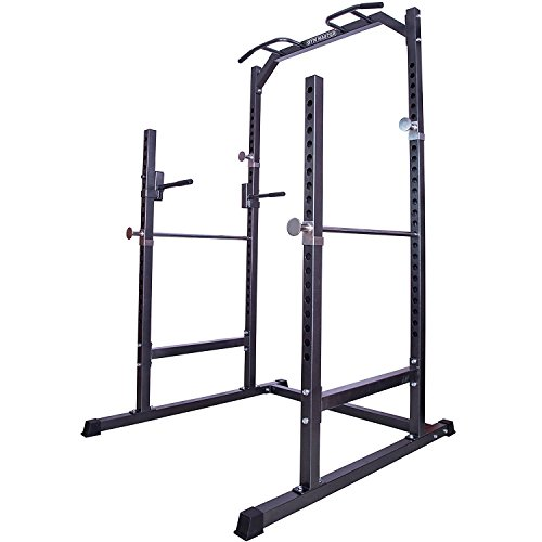 GYM MASTER Heavy Duty Half Power Cage Weight Lifting Squat Rack & Dip Station Tower