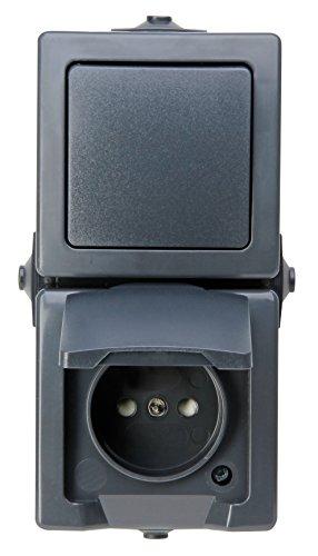 Kopp 138515009 Nautic 2-fach Kombination, Bestehend aus Steckdose mit Klappdeckel und erhöhtem Berührungsschutz sowie Universalschalter, IP44, senkrechte Montage, Anthrazit