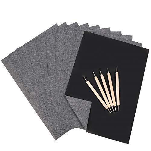 Xinstroe 120PCS Carbon Papier Schwarz Graphitpapier Black Carbon Transfer Transparentpapier mit 5PCS Prägestift Perfekt für die Rückverfolgung (A4)