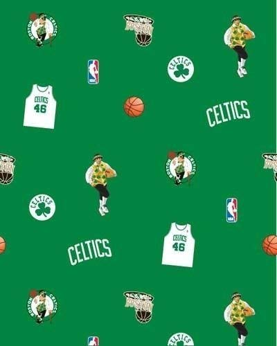 Fleece (not for masks) Boston Celtics Green NBA Basketball Print Fleece Fabric by The Yard (A609.07)
