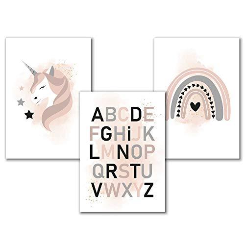 ABC Aquarell Kinderzimmer Bilder Set für Mädchen in Rosa Grau mit dem Alphabet, einem Einhorn und Regenbogen, Poster Babyzimmer Deko