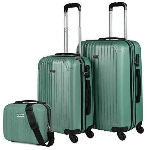 ITACA - Maletas de Viaje 4 Ruedas Y Neceser 3 Pzs. Set Trolley ABS 4 Ruedas (Cabina + Mediana + Neceser) Rígidas y Resistentes. Conjunto Equipaje Avión T71515B, Color Verde Menta