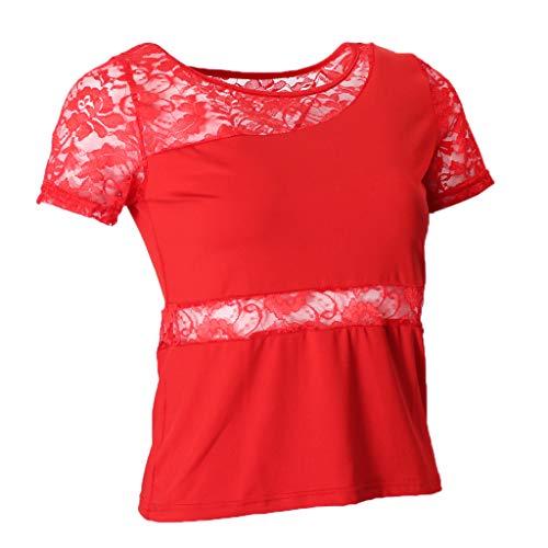 Top de Baile Mujer Camiseta de Manga Corta de Encaje Cuello Redondo Elástico para Baile Latino, Flamenco, Cha Cha - Rojo, XL