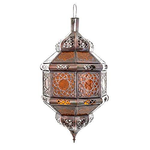 Lámpara de techo oriental de cristal ámbar, árabe, marroquí, de color marrón y cobre antiguo, 45 cm, vintage, marroquí, árabe, oriental, hecha a mano para tu hogar