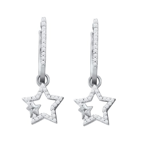 Dazzlingrock Collection 0.25 Carat (ctw) 10K Diamond Star Earrings, White Gold (0.25 Ct Diamond Star)