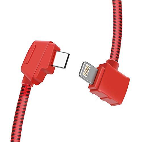 LYONGTECH Micro AB to iOS 8.14 Inch Remote Controller Cable for DJI Mavic Mini, Mavic 2 Pro Zoom/Mavic Air/Mavic Pro Platinum(IOS connector Red)