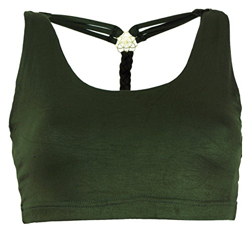 Guru-Shop Goa Psytrance Bikini Top, Boho Top, Pixi Yoga Top, Damen, Olive, Synthetisch, Size:36, Tops & T-Shirts Alternative Bekleidung