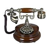 Téléphones fixes et accessoires Téléphone métallique à Cadran Rotatif Ancien téléphone rétro Fixe téléphone Fixe téléphone Sonnerie mécanique (Color : Brown, Size : 25 * 17 * 20cm)