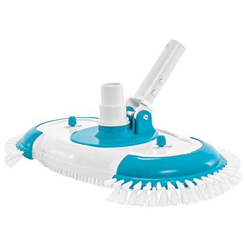 """U.S. Pool Supply 16"""" Weighted Pool Vacuum Head with Nylon Side Bristles, Swivel Hose Connection, EZ Clip Handle - Connect 1-1/4"""", 1-1/2"""" Hose - Scrub Clean, Remove Debris - Safe for Vinyl Lined Pools"""