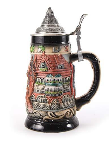 Amoy-Art Bierkrug Bierkrüge mit Gravur Deckel Steinkrüge Bierseidel Handgemacht Beer Stein Geschenk Souvenir Pferdekutsche und Kirche Relief Beer Mug Food Safty Geschenkbox Ceramic 0.8 Litre