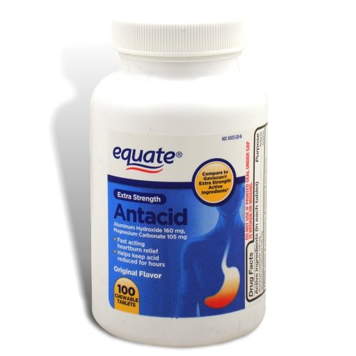 Equate Extra Strength Chewable Antacid Tablets, Original Flavor, 100 Tablets, Compare to Gaviscon