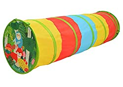 THEMED TUNNEL: Crawling through the tunnels are a blast! Your child can crawl, slide and wiggle in the play tunnel for hours of fun. FOLDABLE: Take it with you on holidays, family visits or to the beach. It can be folded away neatly for storage and c...
