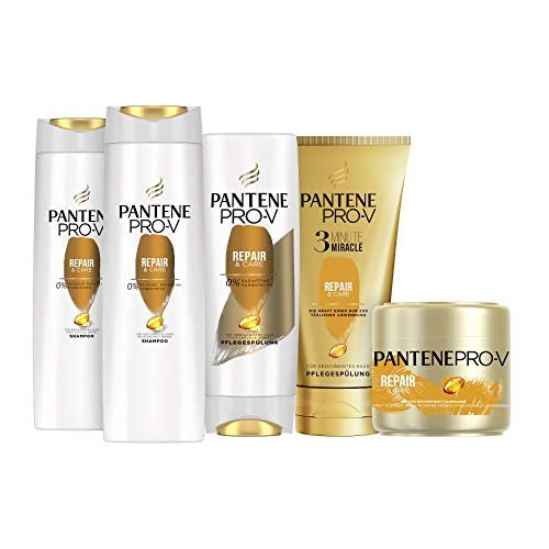 Pantene Pro-V Haarpflege Set: 2x Repair & Care Shampoo 300ml + 1x Pflegespülung 200ml + 1x 3 Minute Miracle 150ml + 1x Intensiv-Maske 300ml, Haarpflege Trockenes Haar, Shampoo Damen, Haarpflege Glanz