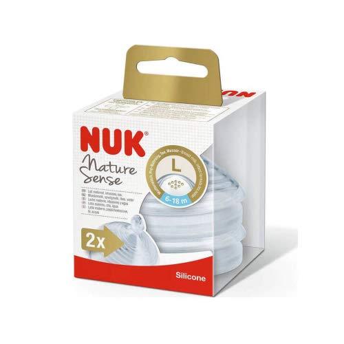 NUK Nature Sense tettarelle in silicone, confezione da 2,età 6–18mesi (foro grande)
