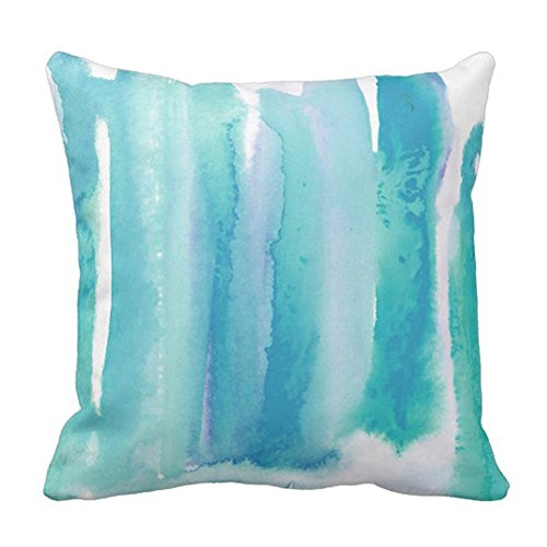 SPXUBZ Teal Turquoise Blue Ombre Watercolor Green Pillow Cover Decorative Home Decor Nice Gift Square Indoor/Outdoor Pillowcase Size: 16x16 Inch(Two Sides)