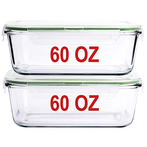 60 OZ LARGE Glass Food Storage Container Baking Dish Set with locking Airtight lids set of 2 Meal Lunch Prep Containers Storing amp Serving Food Leakproof Microwave Oven Freezer and Dishwasher Safe